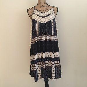 Mittoshop Knee Length Boho Navy Print Dress